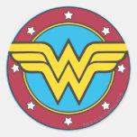 Wonder Woman Circle & Stars Logo Round Sticker