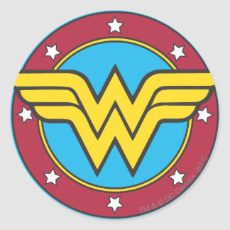 Wonder Woman Circle & Stars Logo Round Sticker
