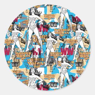 Wonder Woman Collage 10 Round Sticker