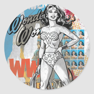 Wonder Woman Collage 2 Round Sticker