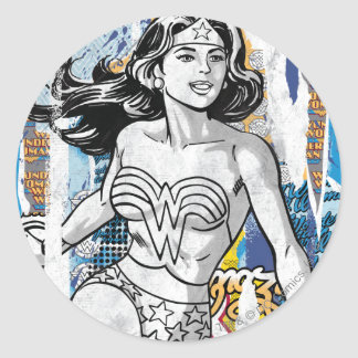Wonder Woman Collage 4 Round Sticker