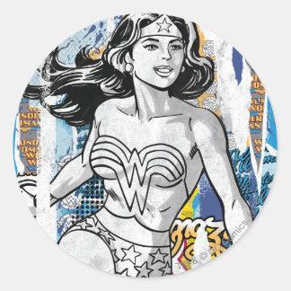 Wonder Woman Collage 4 Classic Round Sticker