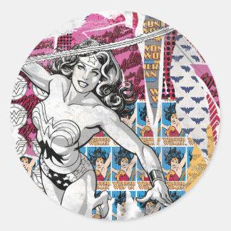 Wonder Woman Collage 5 Round Sticker