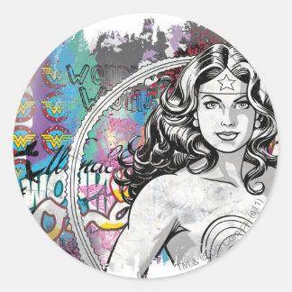 Wonder Woman Collage 6 Round Sticker
