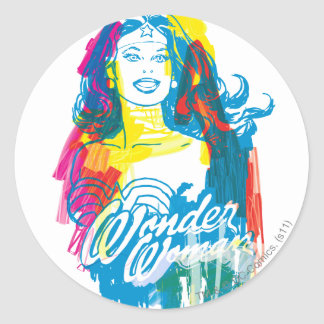 Wonder Woman Colorful 1 Round Sticker