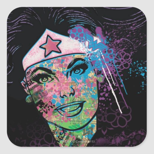 Wonder Woman Colorful Collage Stickers