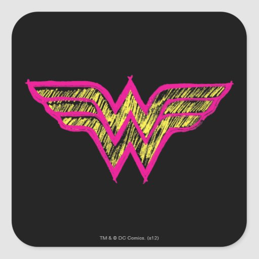 Wonder Woman Colorful Pink and Yellow Logo Square Stickers