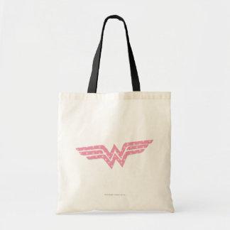 Wonder Woman Colorful Pink Floral Logo Tote Bags