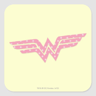 Wonder Woman Colorful Pink Floral Logo Square Sticker