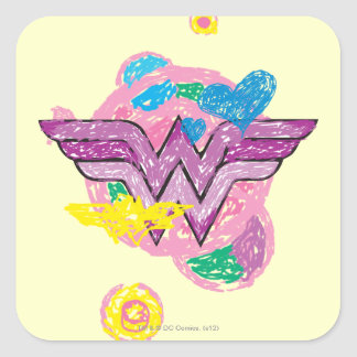 Wonder Woman Colorful Scribbles Square Stickers