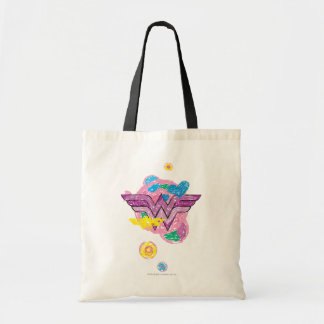 Wonder Woman Colorful Scribbles Budget Tote Bag