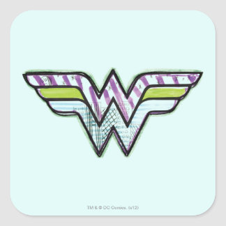 Wonder Woman Colorful Sketch Logo Square Stickers