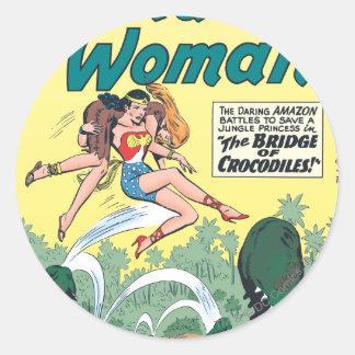 Wonder Woman Crocodiles Round Stickers