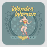 Wonder Woman Distressed Star Design Square Stickers