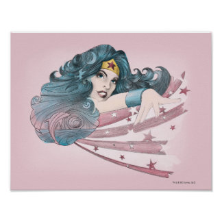 Wonder Woman Dolphin and Stripes Poster