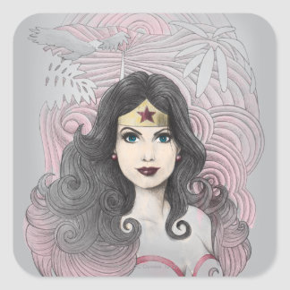 Wonder Woman Eagle and Trees Square Sticker