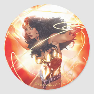 Wonder Woman Encyclopedia Cover Round Sticker