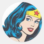 Wonder Woman Face Classic Round Sticker