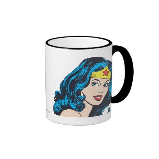 Wonder Woman Face Coffee Mugs