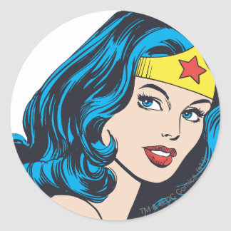 Wonder Woman Face Round Sticker