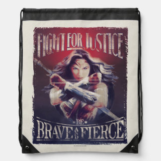 Wonder Woman Fight For Justice Drawstring Bag