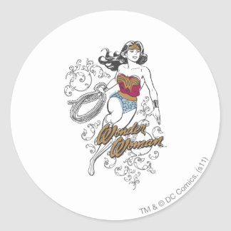Wonder Woman Flourish Round Sticker