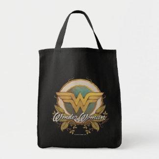 Wonder Woman Foliage Sketch Logo Grocery Tote Bag