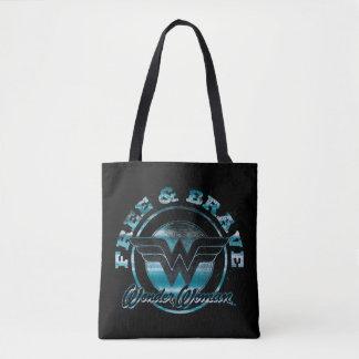 Wonder Woman Free & Brave Grunge Graphic Tote Bag