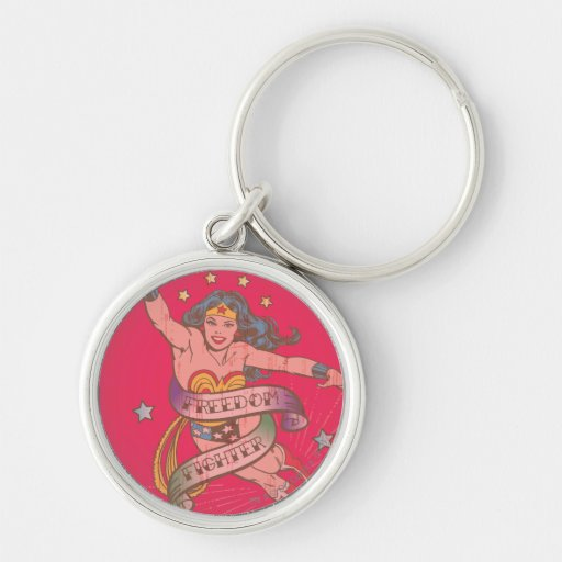 Wonder Woman Freedom Fighter Silver-Colored Round Key Ring