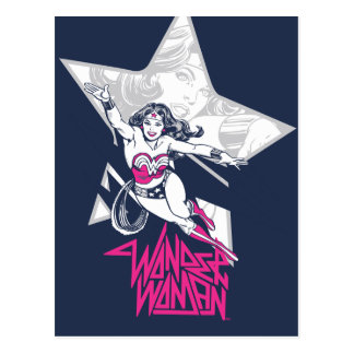 Wonder Woman Glam Rock Flying Character Graphic Postcard