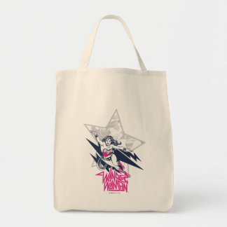 Wonder Woman Glam Rock Flying Character Graphic Tote Bag