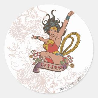Wonder Woman Goddess Round Sticker