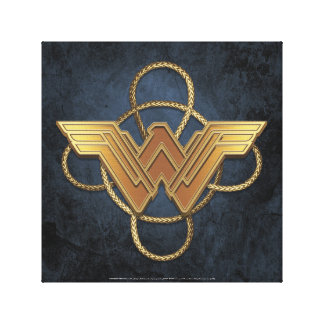 Wonder Woman Gold Symbol Over Lasso Canvas Print