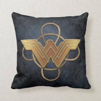 Wonder Woman Gold Symbol Over Lasso Cushion