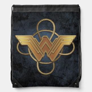 Wonder Woman Gold Symbol Over Lasso Drawstring Bag