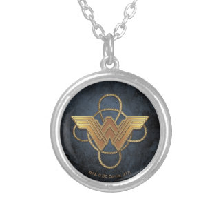 Wonder Woman Gold Symbol Over Lasso Silver Plated Necklace