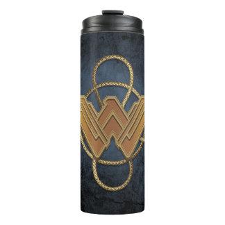 Wonder Woman Gold Symbol Over Lasso Thermal Tumbler