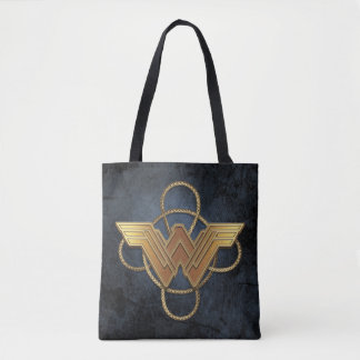 Wonder Woman Gold Symbol Over Lasso Tote Bag