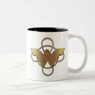 Wonder Woman Gold Symbol Over Lasso Two-Tone Coffee Mug