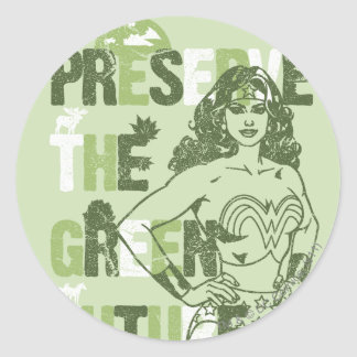 Wonder Woman Green Future Round Sticker