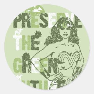 Wonder Woman Green Future Round Sticker