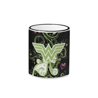 Wonder Woman Green Swirls Logo Ringer Mug