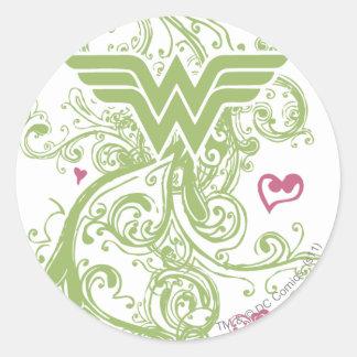 Wonder Woman Green Swirls Logo Round Sticker