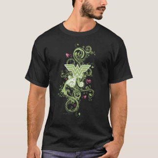 Wonder Woman Green Swirls Logo T-Shirt