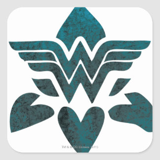 Wonder Woman Grunge Logo Square Stickers
