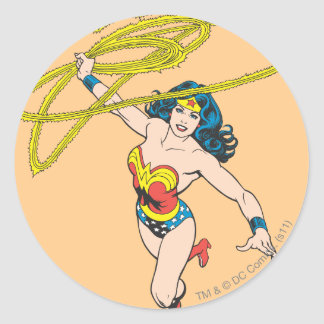 Wonder Woman Holds Lasso 2 Round Stickers
