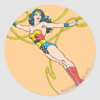 Wonder Woman Holds Lasso 4 Round Sticker