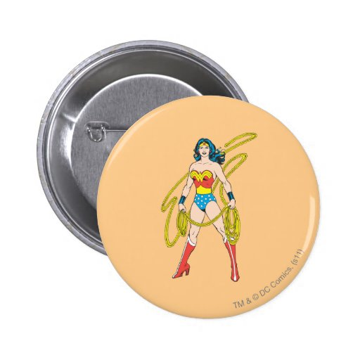 Wonder Woman Holds Lasso 5 Buttons