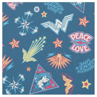 Wonder Woman Icons & Phrases Pattern Fabric