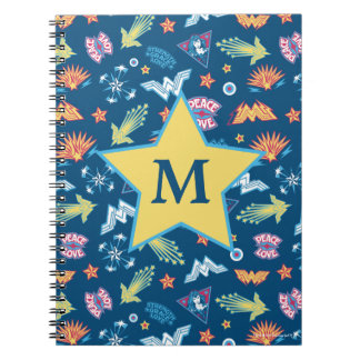 Wonder Woman Icons & Phrases Pattern | Monogram Notebook